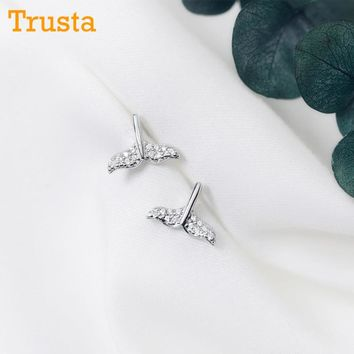 Trusta 100% 925 Solid Real Sterling Silver Fashion Mermaid Tail CZ 10mmX8mm Stud Earrings Gift For Girl Wife Daughter Gift DS914