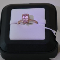 2.07 carat untreated peach lavender  sapphire, Rose gold, diamonds halo engagement ring  Joan-873