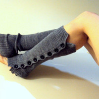 Knit Legwarmers with Buttons Grey Boot Socks Boot Toppers Boot Cuffs Arm Warmers Women Men Fashion Accessories Gift Ideas