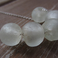 Sea Glass Necklace, Large White Sea Glass Beads
