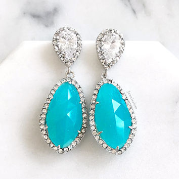 Sterling Silver Turquoise Earrings, Blue Wedding Jewelry, Cubic Zirconia, Crystal, Bridal Earrings, for Bride, Bridesmaid Gift, Birthstone
