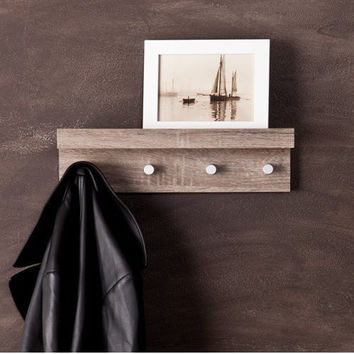 Argo Wall Mount Shelf w/ Hangers - Dark Oak
