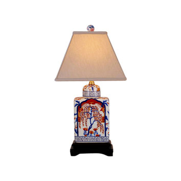 Beautiful Porcelain Imari Pattern Tea Caddy Table Lamp 18""