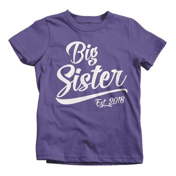 Shirts By Sarah Toddler Girl's Big Sister Est. 2018 T-Shirt Sibling Matching Tee