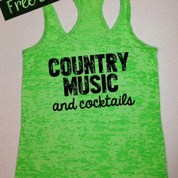 Country Music and Cocktails. Southern Girl Tank Top. Running Tank. Southern Country Shirt. Fitness Tank. Southern Clothing. Free Shipping