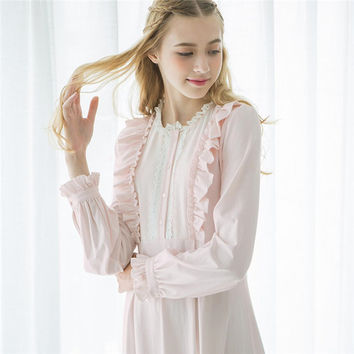 Autumn Cotton Long Nightgowns Women Lace Sweet Vintage Romantic Sleepwear White Sweet Home Dress Plus Size Nightdress #LL24