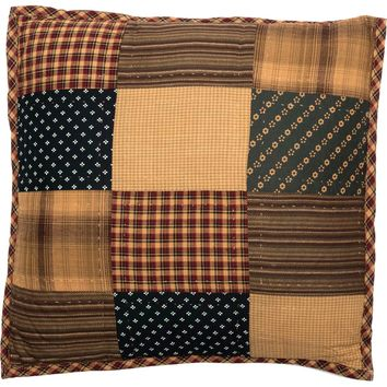 Americana Primitive Rustic Quilted Patriotic Patch Filled Pillow 16 x 16 Square