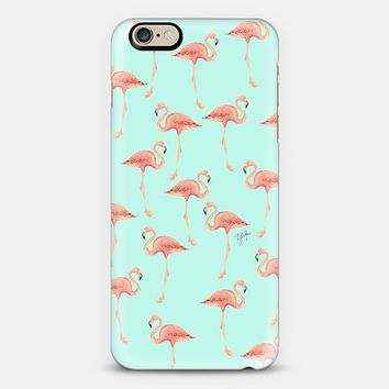 flamingo flock (mint green) iPhone 6s case by Ylfa Grönvold Illustrations | Casetify
