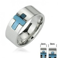 316L Stainless Steel Ring with Blue IP Cross - Size:8