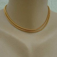 Hong Kong 30 in Round Box Chain Snake Necklace Goldtone Flexible Vintage Jewelry