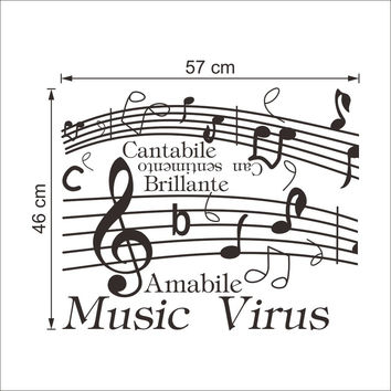 New Music Note Pattern Wall Stickers Home Decor Decoration Art For Wall Removable Waterproof Black 38*57CM SM6