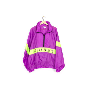 80s OCEAN PACIFIC windbreker jacket - vintage 1980s - neon + purple - pullover - LARGE