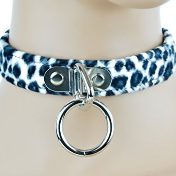 White Fuzzy Leopard Animal Choker Sexy O Ring Fetish Collar