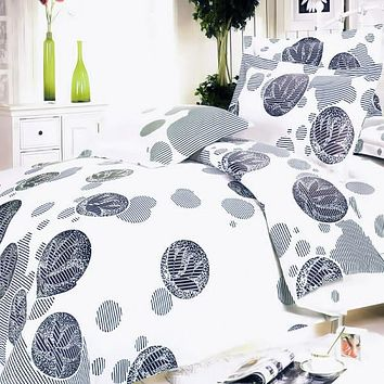 White Gray Marbles 100% Cotton 4PC Duvet Cover Set King Size