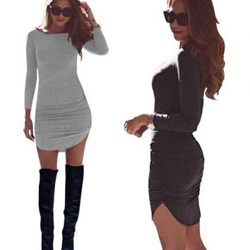 DCCKLO3 Autumn and winter new style, leisure warm, fashion O collar long sleeve tight dress, sexy party clothes,sell well