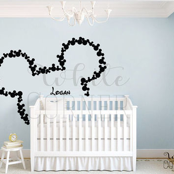 rta 240 Disney Custom Baby Name Head Mice Ears Mickey Mouse Letter Gift Kids Children Wall Decal Vinyl Sticker Art Decor Bedroom Office