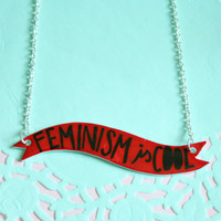 Feminism is Cool Banner Necklace in Red