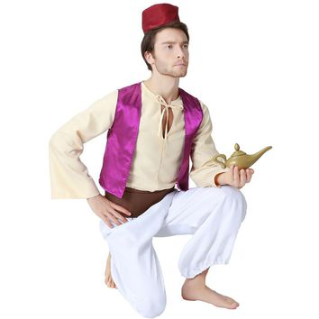 Adult Aladdin Costumes Arabian Prince Aladdin Fancy Dress Anime Story Book Fairytales Costumes Halloween Costume for Men