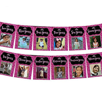 Glitter Sweet 16 Banner - Timeline Photo Sweet 16 Birthday Banner - Milestone 16 Birthday Banner - Printable or Printed - Photo Banner Teen