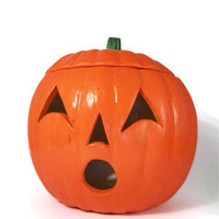 Halloween Pumpkin Candle Holder Ceramic Jack O' Lantern