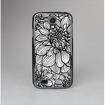 The White and Black Flower Illustration Skin-Sert Case for the Samsung Galaxy S4