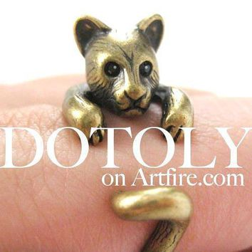 3D Kitty Cat Animal Wrap Around Ring in Brass in US Size 5 to Size 9