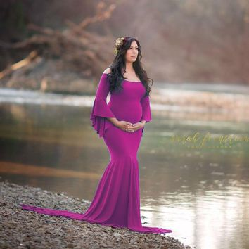 Shoulderless Maternity Dresses For Photo Shoot Maternity Photography Props Maxi Pregnancy Dresses For Pregnant Women Clothes