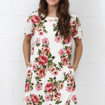 Fresh Breath of Air Floral Dress {Ivory Mix}