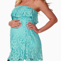 Aqua Lace Overlay Strapless Maternity Top