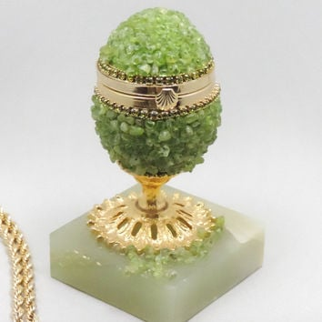 Peridot Egg Jewelry Box, Natural Gemstone Faberge Style Decorated Egg
