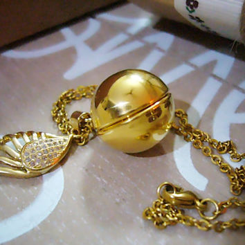 Personalized Gold Secret Message Necklace, Golden Snitch Necklace, Angel Wing Necklace, Harry Potter Necklace, Gift for her