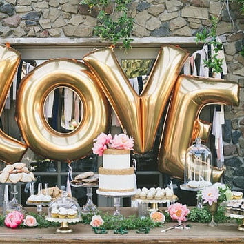 40 Inch Giant Letter Balloon Garland / Wedding / Birthday Party / Baby Shower / Love / Just Married / Photos / Gold / Silver / Mylar Foil