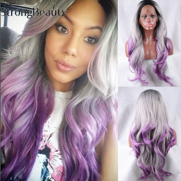 Kylie Jenner Ombre Grey Bodywave Synthetic Lace Front Wig  Long Natural Black/Silver Grey/Purple Heat Resistant Hair Wigs
