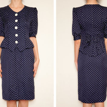 1970's Navy Polka Dot vintage dress, Navy dress, Givenchy style dress,Elegant dress, French style dress, designer style dress