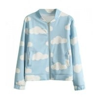 Zip Front Cloud Print Baseball Jacket