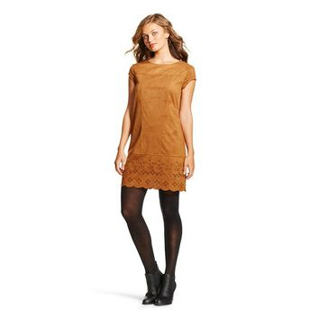 Women's Xhilaration™ Crochet Front Fit and Flare Dress Brown