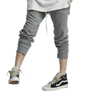 Fashion sweat pants man zipper real street wear hip hop jogger pants men compression hip hop