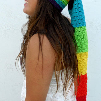 Extra Long Crochet Santa Hat - Double Rainbow Pixie Elf Beanie -  Fits 23 - 24 1/2  in heads - by Tejidos on Etsy
