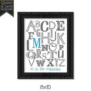 Personalized Alphabet Monogram Name Nursery Decor Children's Wall Art Digital Printable File - YOU Choose Color DIY Download - Letter is for