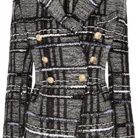 Balmain - Double-breasted checked tweed blazer