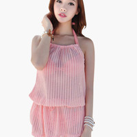 Pink Halter Plaid Knit Blouson Cover-up