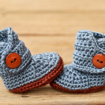 Crochet Baby Booties - Baby Boots - Blue and Grey Baby Shoes Brown Button - Blue Jean Denim - UGG Inspired