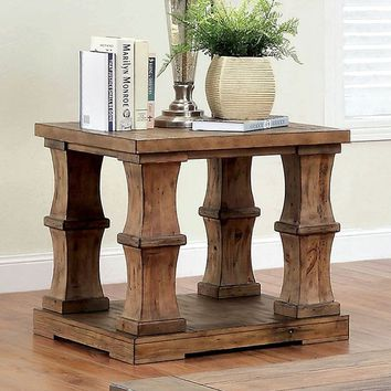 Furniture of america CM4457E Granard antique oak finish wood end table