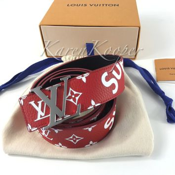AUTHENTIC NEW LOUIS VUITTON SUPREME BELT Sz 100/38 US RED LV 40 MP015 FW17