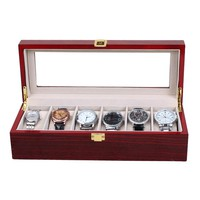 6 Slot Wood Watch Case with Glass Top