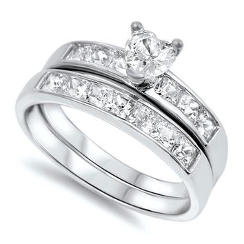 .75CT Heart Shape CZ Channel Rhodium Sterling Silver Bridal Wedding Ring Set