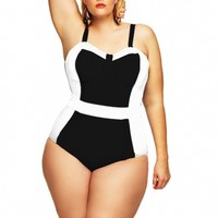 """St. Vincent"" Colorblock Plus Size Swimsuit w/Underwire- Black/White - Sale - Monif C"