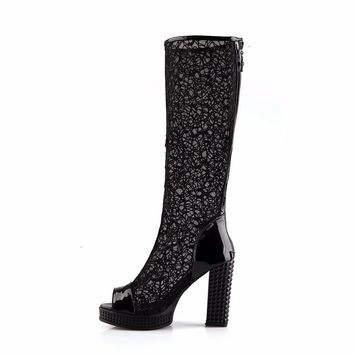 Lace Peep Toe Leather Boots