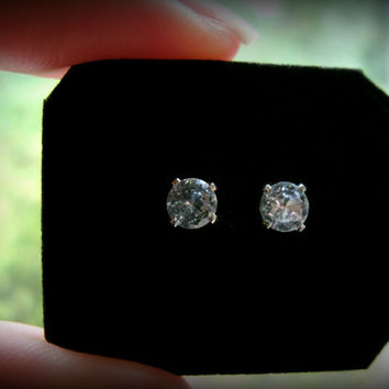 Genuine White Topaz Earrings Sterling Silver Studs, SALE! 1 LEFT!