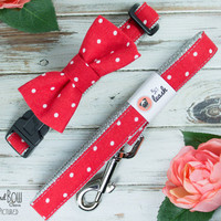 Red Polka Dot Dog Collar with Removable Bow Tie